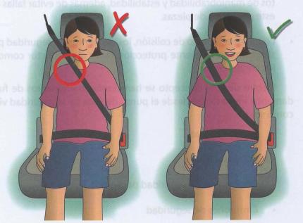 Correcta colocación del cinturón de seguridad para niños de más de 1,45 metros