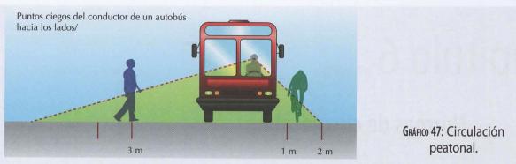 Circulación de peatones por la vía y puntos ciegos del conductor hacia los lados