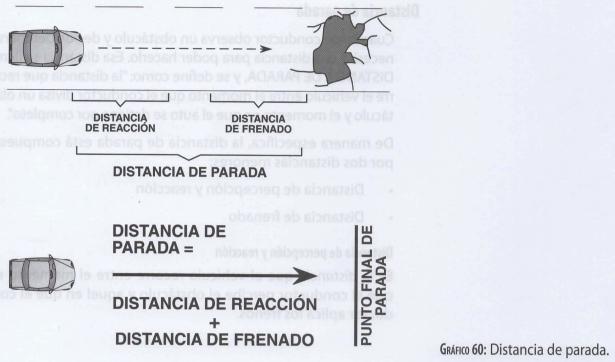 Distancia de parada formada por la distancia de reacción y la distancia de frenado