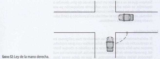 Ley de mano derecha da preferencia de paso a un vehículo que salga del lado derecho